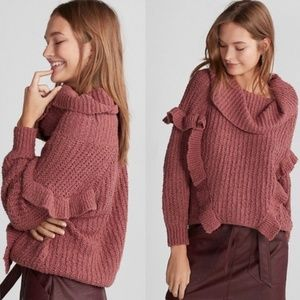 Express Ruffle Cowlneck Knit Sweater